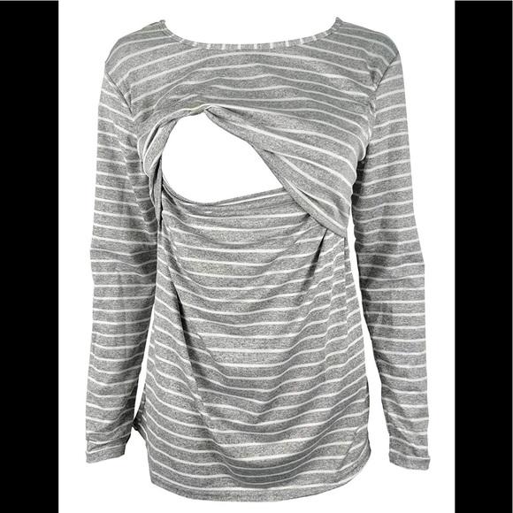 e2b3c732d69 Culianyouhuo Tops - Gray and white striped long sleeved nursing shirt